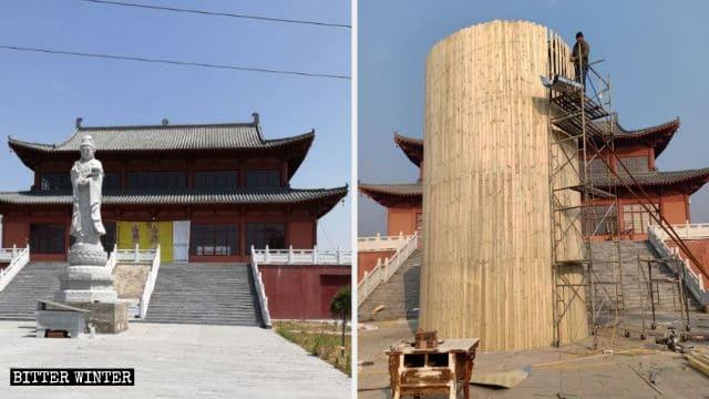 La estatua de Guanyin antes y después de ser rodeada con placas de hierro
