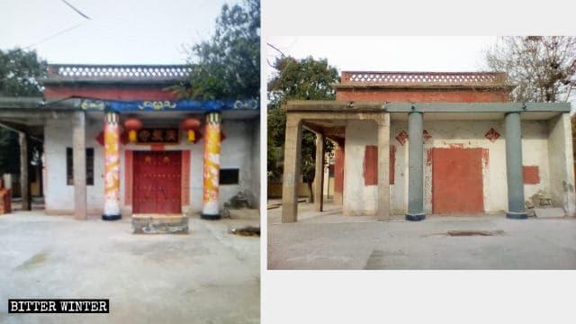 Las puertas y ventanas del templo antes y después de ser bloqueadas.