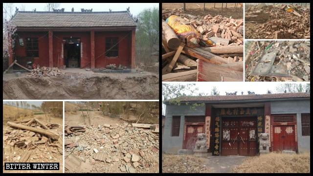 Dos templos emplazados en la ciudad de Heze fueron demolidos.