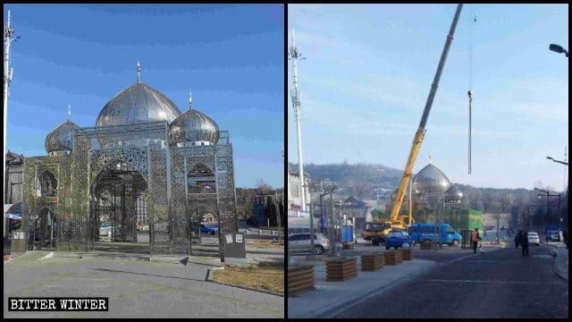 La arquitectura de estilo islámico de la Calle de Comida Halal fue demolida.