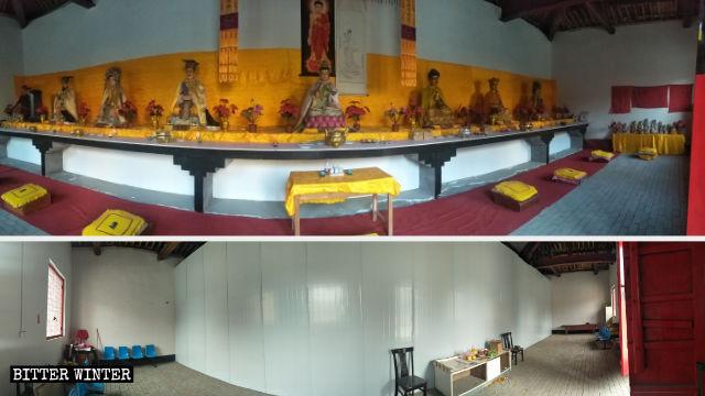 Las estatuas budistas del templo han sido colocadas detrás de una pared fabricada con láminas de hierro.