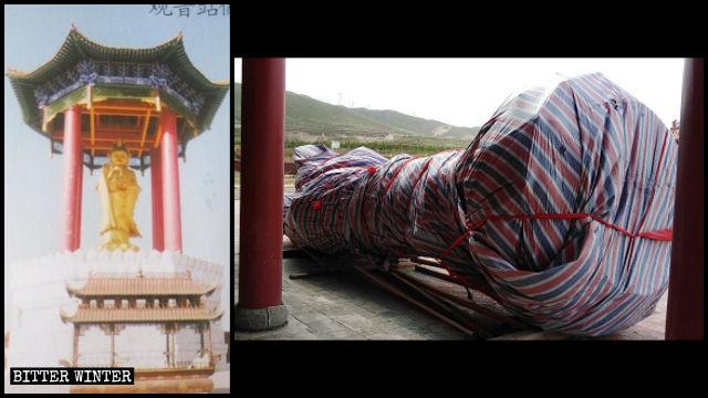 Estatua de Kwan Yin en el templo de Shanyuan, antes y después de ser demolida.