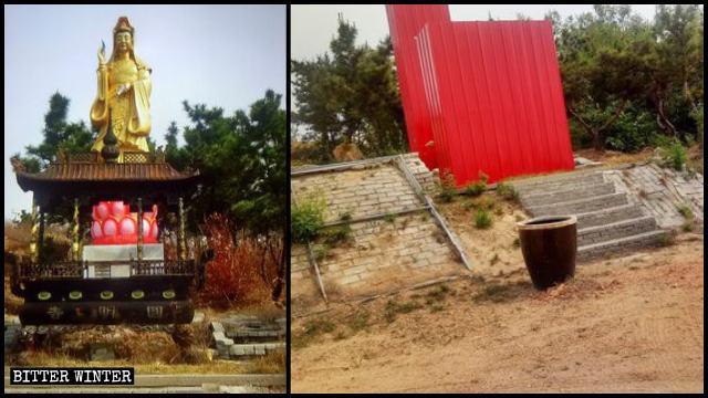 La estatua budista y el quemador de incienso que se hallaban situados en el interior del templo de Yuanming estaban cubiertos con láminas rojas de hierro galvanizado.