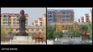 """Quemar los cuerpos para ocultar la evidencia: estatua budista """"sinificada"""" es demolida"""