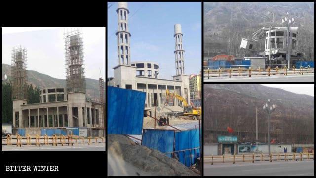 La mezquita emplazada en el condado de Minhe antes y después de la demolición.