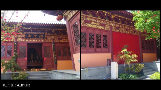 La puerta de la sala del palacio, en el templo de Cihang, ha sido sellada.