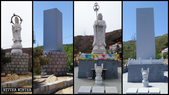 Las estatuas budistas del templo de Cihang han sido cubiertas.
