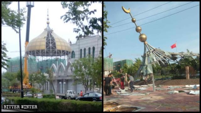 Los símbolos islámicos de la mezquita fueron demolidos
