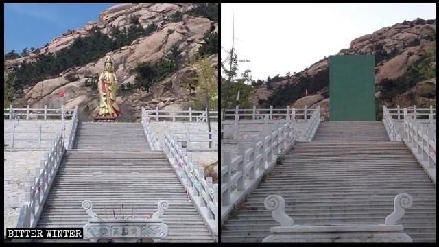 Una estatua de Bodhisattva que se halla situada en el templo de Gaofu de la ciudad de Pingdu fue cubierta luego de que el mismo fuera clausurado.