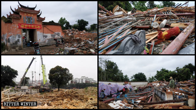 El templo de Fuxing se encuentra en proceso de demolición.
