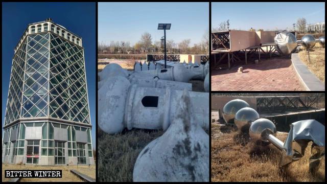 Todos los símbolos islámicos situados en la parte superior de la Torre de la ciencia popular han sido desmantelados.